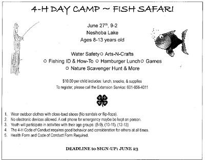 4-H Day Camp at Neshoba Lake - Kicks96news com - Central