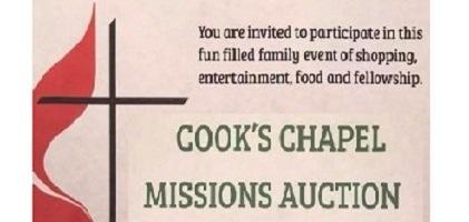 """Cooks Chapel """"Auctions for Missions"""" Saturday - Kicks96news"""